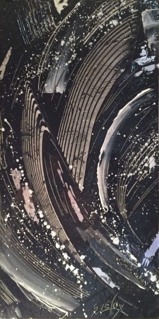 BLACK TRACK</br>Acrylique & Feuille d'Argent sur toile 25X50 S.B.D Vendu
