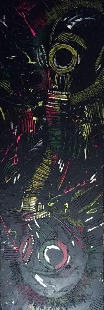 BREATHE OUT</br>Acrylique & feuille d'argent sur toile 30 X 90 S.B.D Vendu
