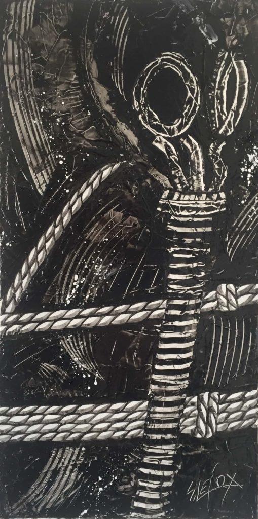 BREATHES & KINBAKU</br>Acrylique sur toile 25 X 50 S.B.D Vendu