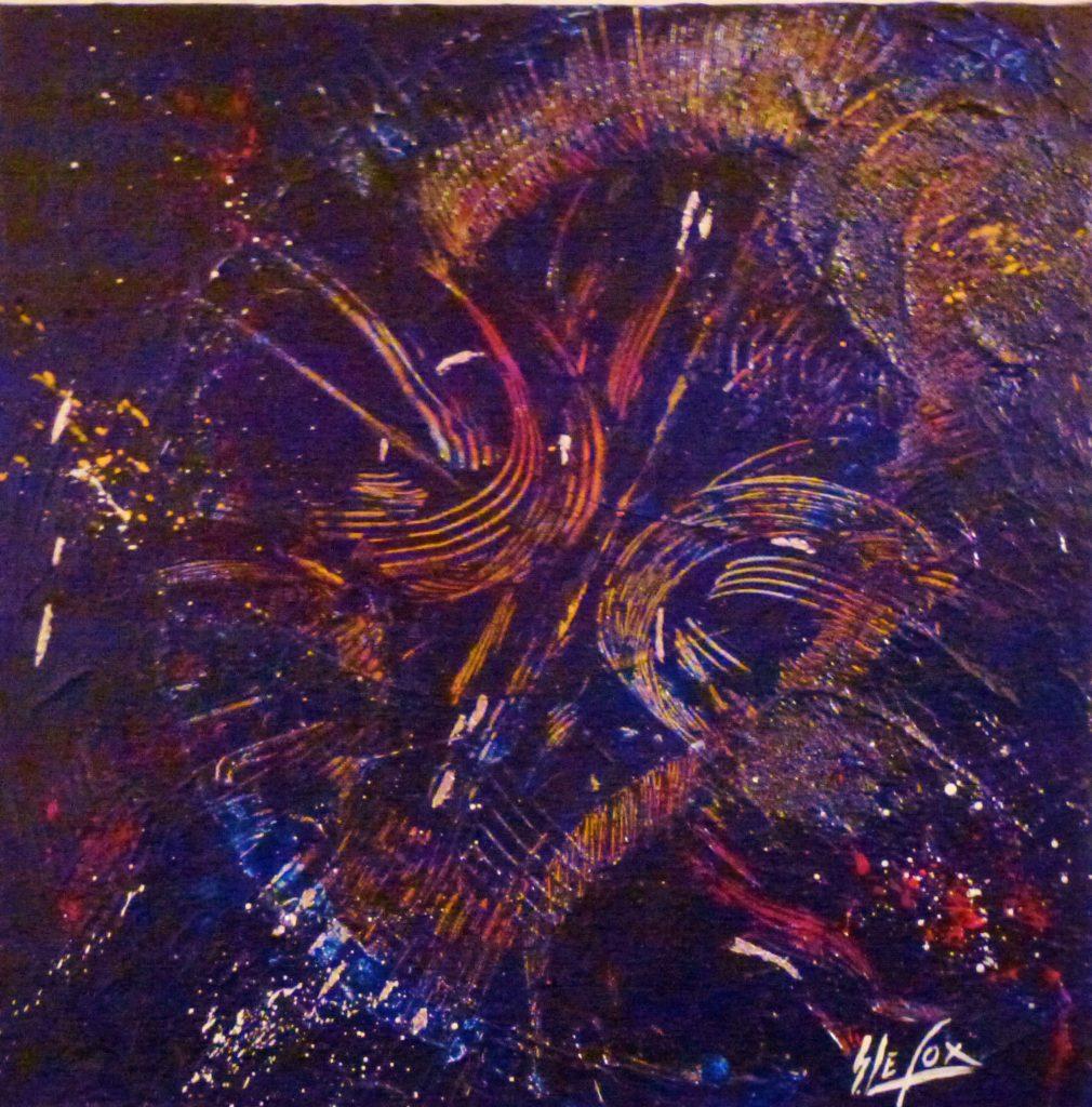 BREATHLESSNESS</br>Acrylique & feuille d'argent sur toile 40 X 40 S.B.D Vendu