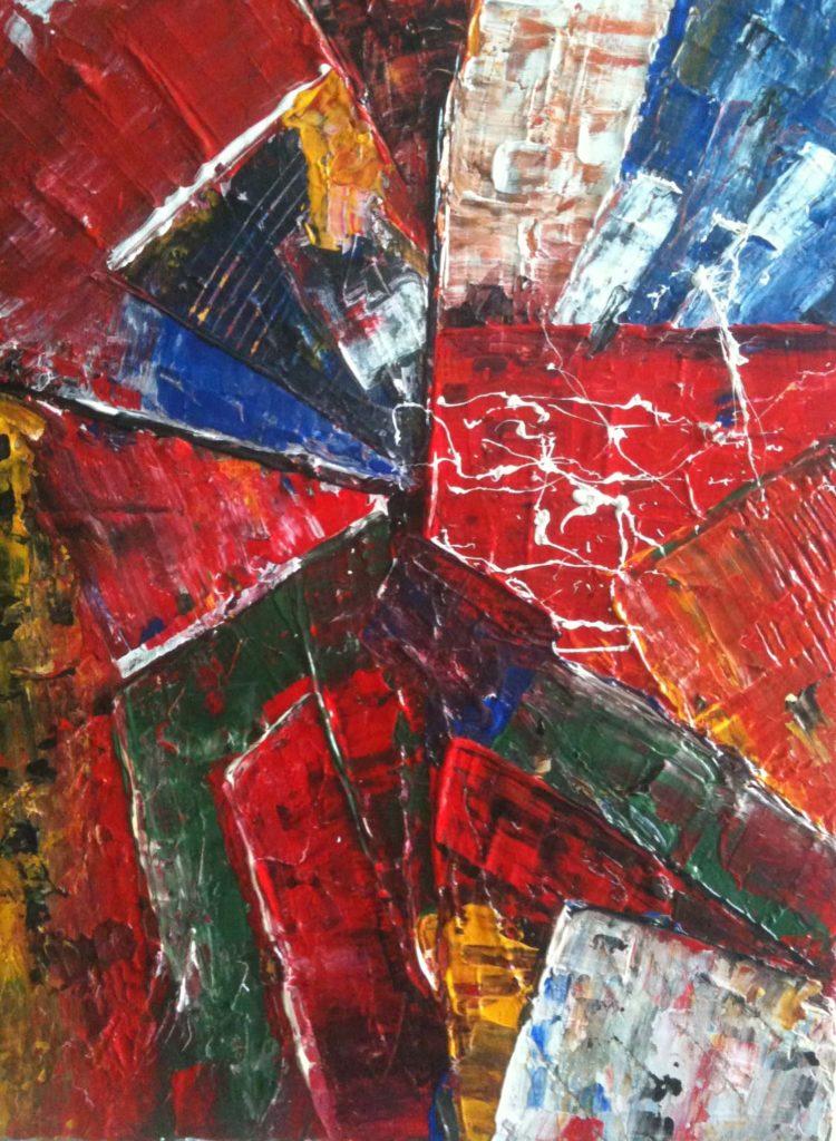 BROCKEN</br>Acrylique sur toile & Feuilles d'or 30 X 40 S.B.D Vendu