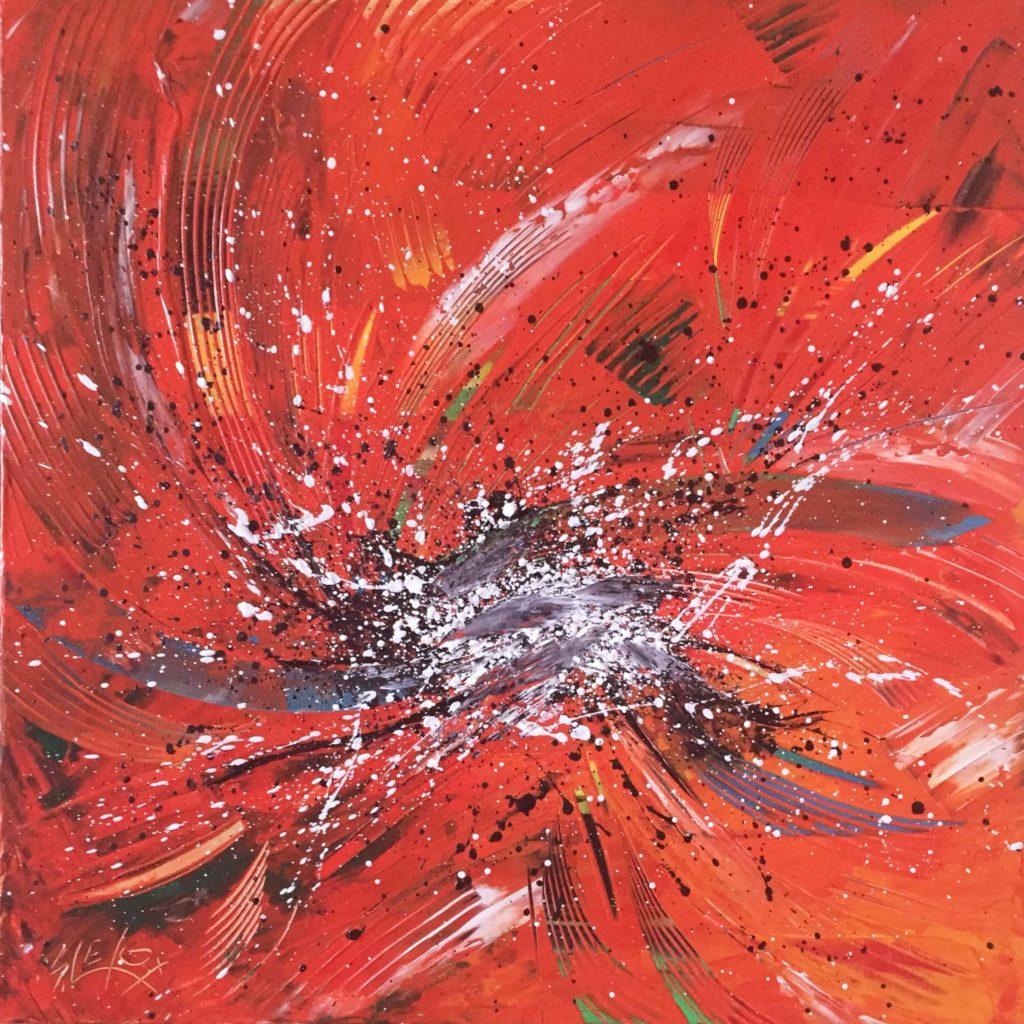CELESTIAL BURSTS</br>Acrylique & Feuille d'Argent sur toile 50X50 B.G