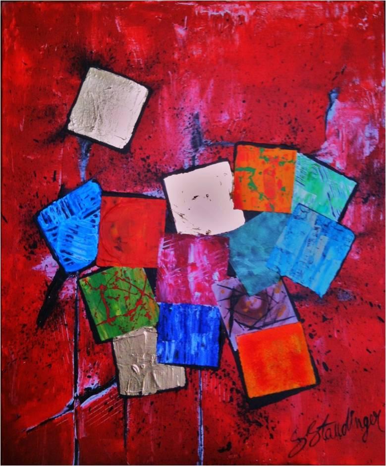 DETACHEMENT</br>Acrylique sur toile & Feuilles d'or 46 X 55 S.B.D