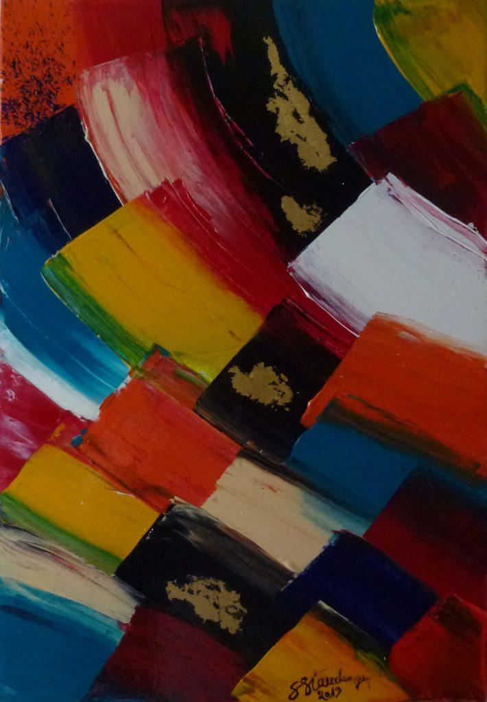 DISTRORTED GLOW</br>Acrylique sur toile & Feuilles d'or 38 X 55 S.B.D