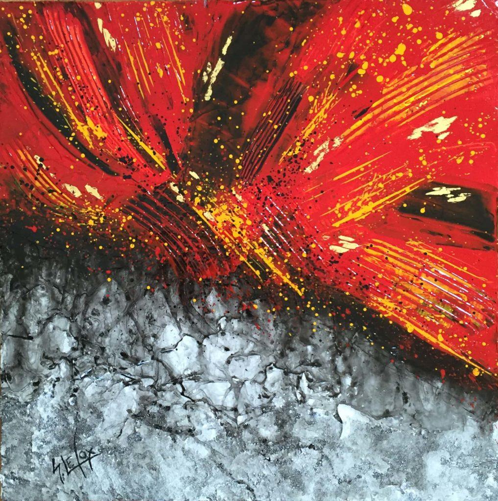 ERUPTION</br>Acrylique & Feuille d'or sur toile 40 X 40 S.B.G Vendue