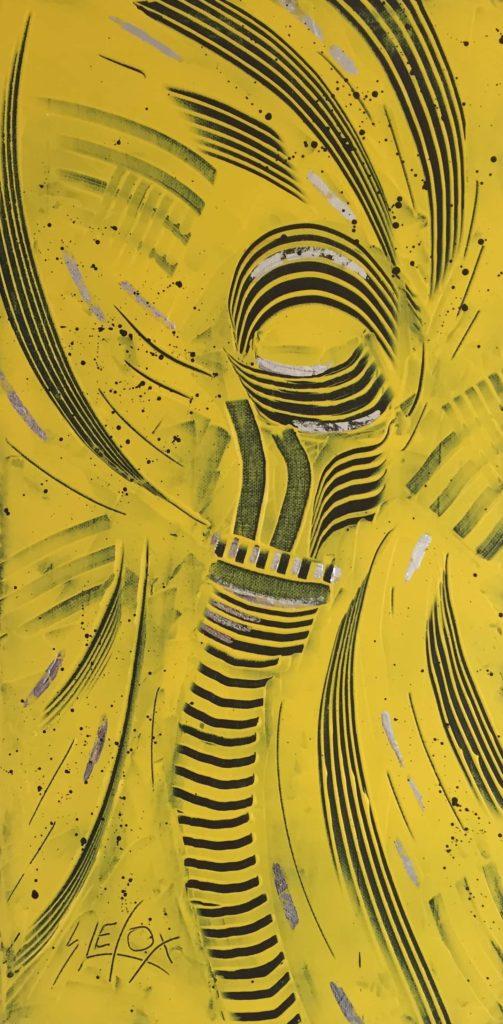FEELS GOLD</br>Acrylique & feuille d'argent sur toile 25 X 50 S.B.G Vendu