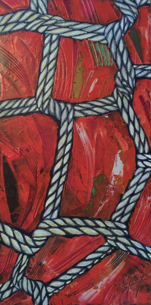 FUTOMOMO</br>Acrylique sur toile 25 X 50 S.B.D Vendu