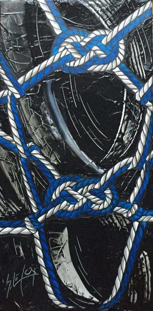 HOG TIE</br>Acrylique sur toile 25 X 50 S.B.G Vendu