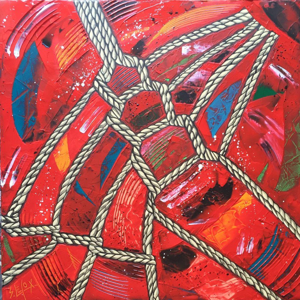 HOJÖJUSTSU</br>Acrylique sur toile 50 X 50 S.B.G Vendu