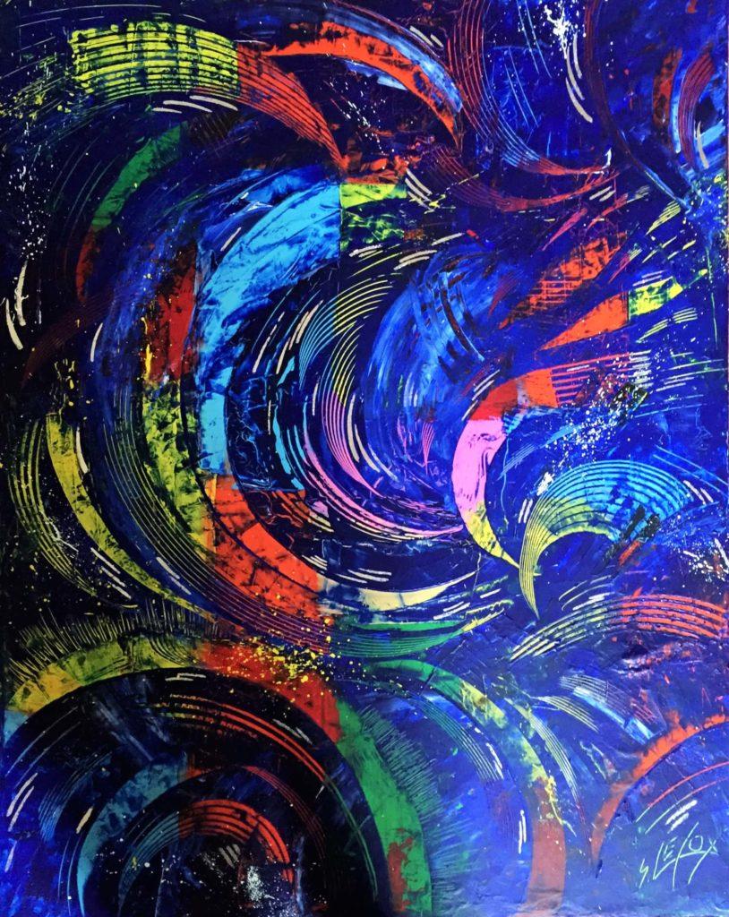 SIDEREAL</br>Acrylique & Feuille d'Argent sur toile 60X60 S.B.D VENDUE