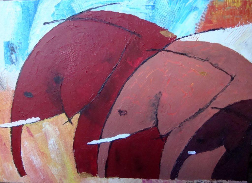 OLIFANT 1</br>Acrylique sur toile & Feuilles d'or 50 X 70 S.B.D Vendu