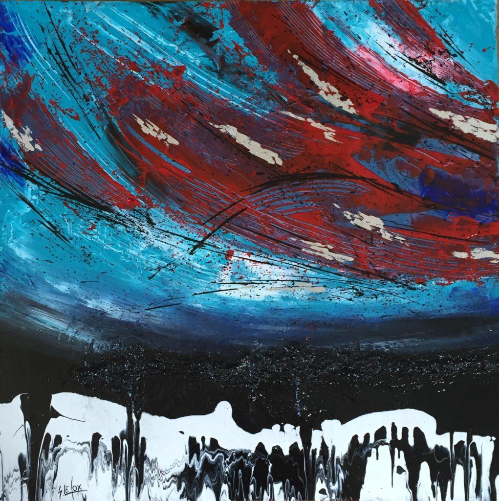 OVER</br>Acrylique & Feuille d'Argent sur toile 60 X 60 S.B.G Vendue