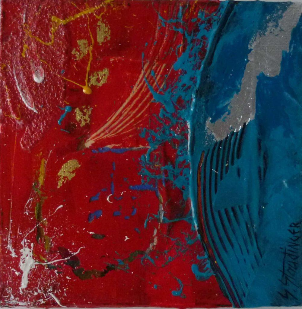 PLANET 1</br>Acrylique sur toile & feuille d'or 15 X 15 S.B.D Vendu
