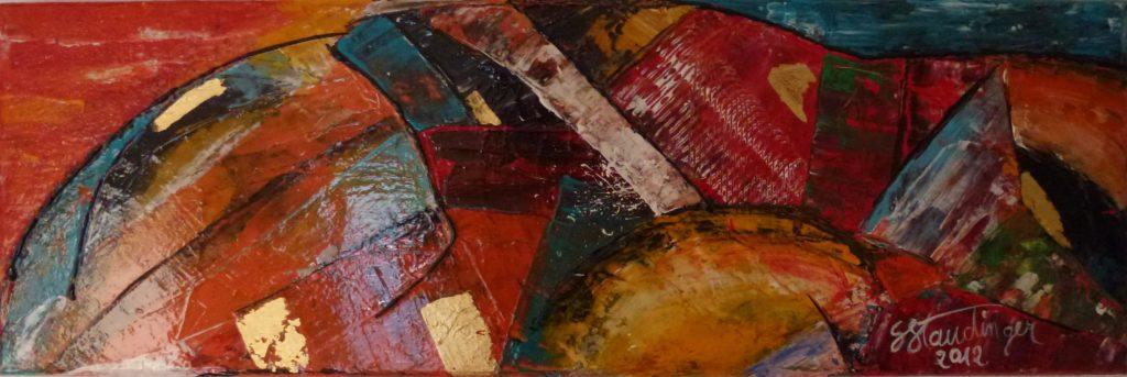 TOUKAN</br>Acrylique sur toile & Feuilles d'or 20 X 60 S.B.D Vendu