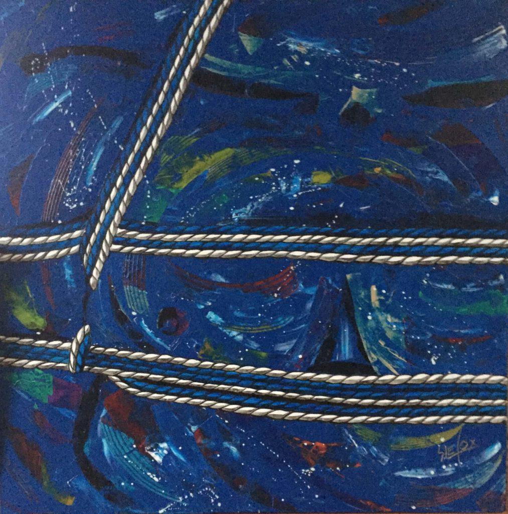 USHIROTE MUNENAWA</br>Acrylique sur toile 80 X 80 S.B.D