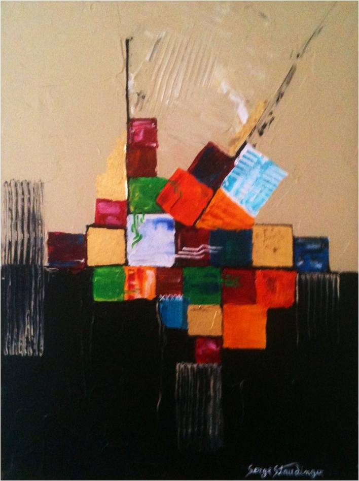 VINGT CINQ</br>Acrylique sur toile & Feuilles d'or 30 X 40 S.B.D