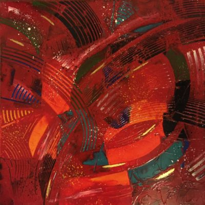 RED GALAXY</br>Acrylique et Feuille d'or sur toile  60 X 60 SBD
