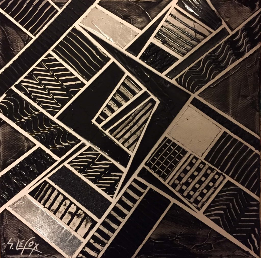 DEVIANCE</br> Acrylic & silver leaf on canvas 30 X 30 SBG