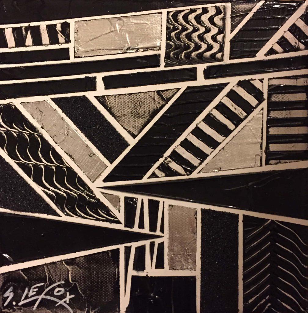 DISCORDANCE</br> Acrylic & silver leaf on canvas 20 X 20 SBG