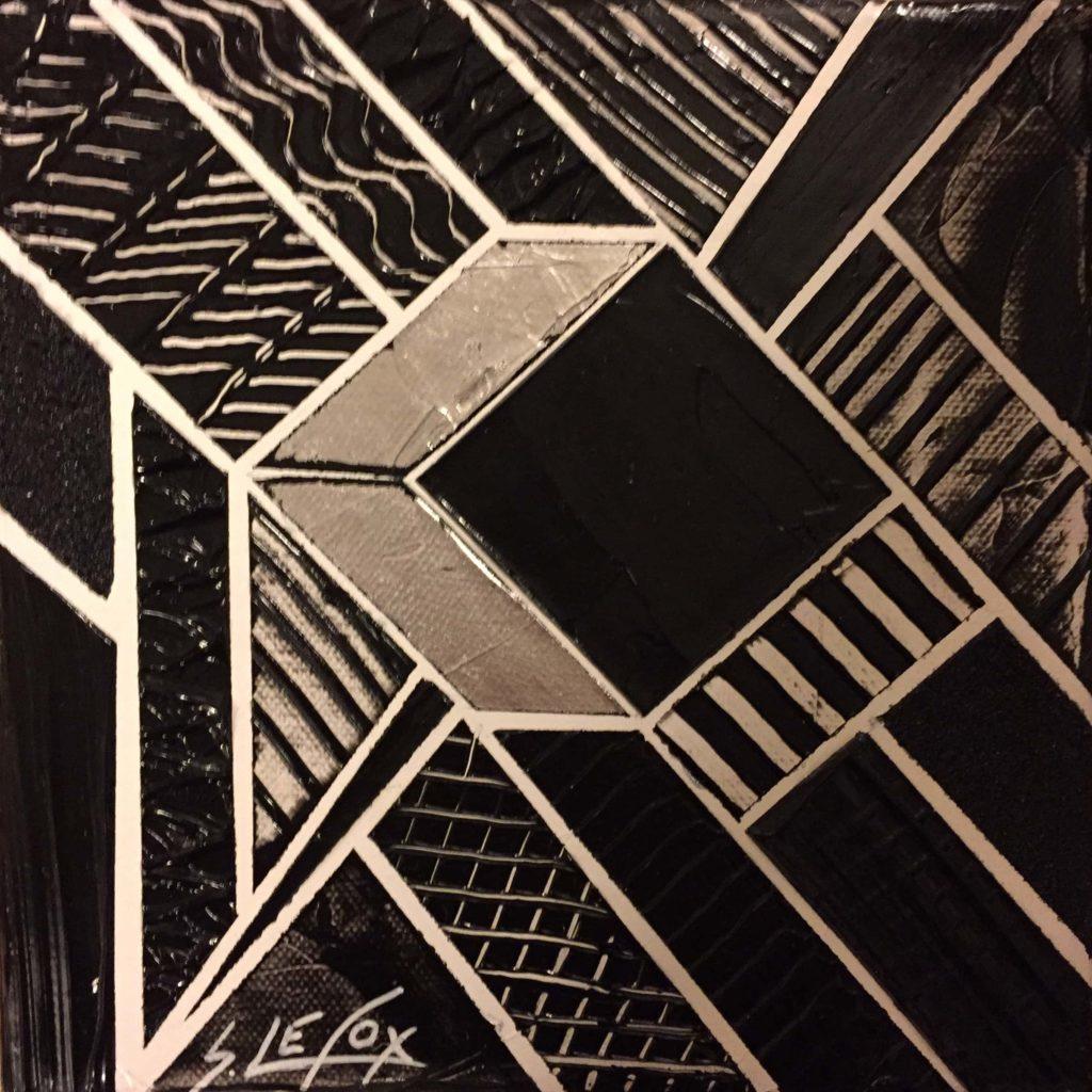 EVIDENCE </br> Acrylic & silver leaf on canvas 20 X 20 SBG