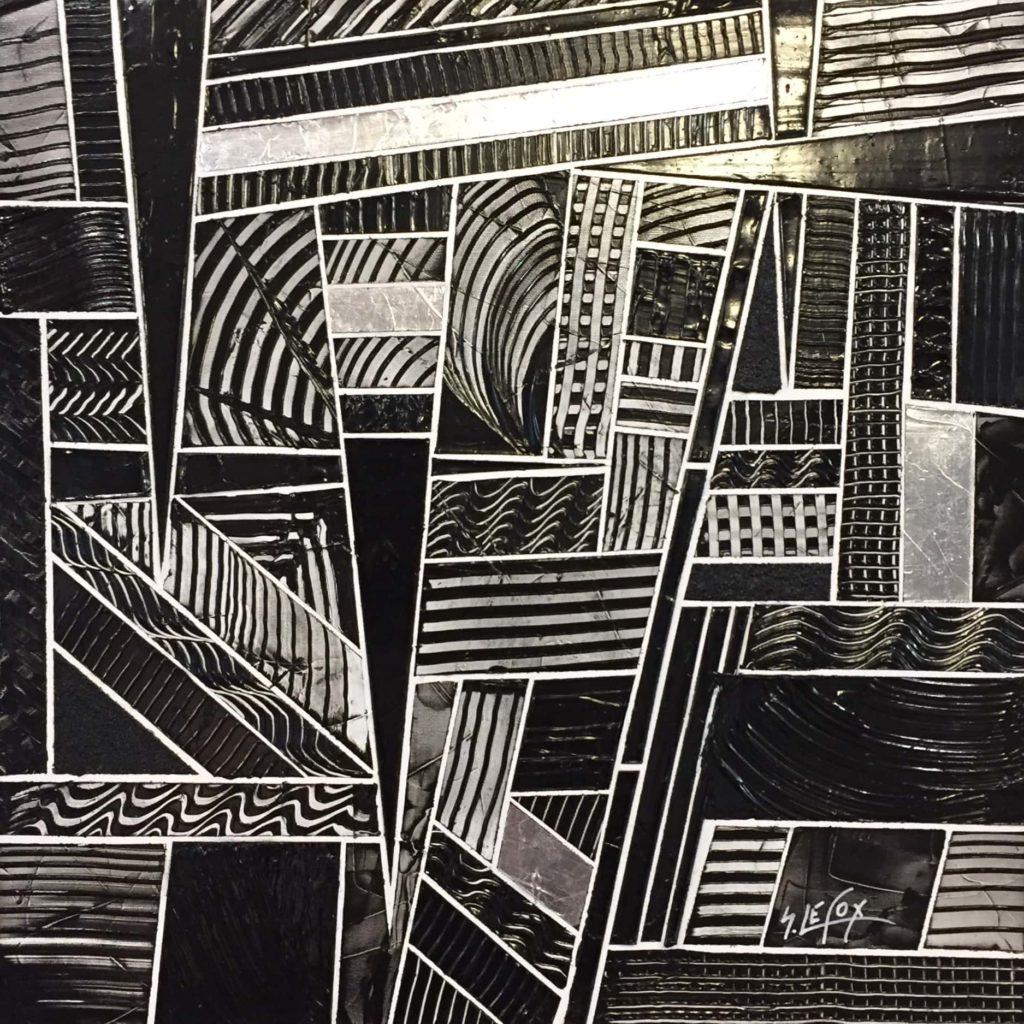 DECADENCE</br> Acrylic & silver leaf on canvas 50 X 50 SBD Vendue
